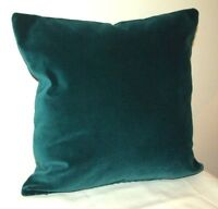 """TEAL BLUE cotton Velvet 18"""" Zipped CUSHION with feather inner"""