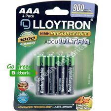 4 x Lloytron AAA 900 mAh Rechargeable Batteries, Cordless Phone 1.2V NiMH HR03