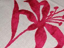 """HARLEQUIN """"HANA"""" 0.75 Metres (75cm) CUT VELVET designer fabric RED/LINEN"""