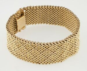 Cartier Vintage Mesh 18k Yellow Gold Bracelet w/ Harlequin Diamond Pattern