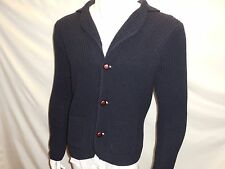 ITALY Men Brunella Gori V neck Sz M Button Down Wool Sweater Navy NWT Medium