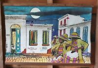 Uruguayan Folk Art Hand Painted On Cloth Latin American Latino Painting