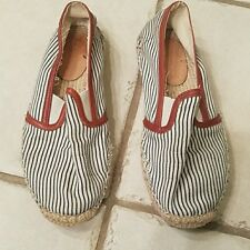 Joie canvas white navy stripe womens shoes size 6.5/ 36.5