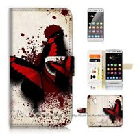 ( For Telstra 4GX Buzz ) Wallet Case Cover P20583 Blood Butterfly