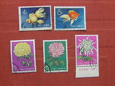 China S 38 Goldfish, S 44 Chrysanthemums CTO Part Sets 5 stamps See  photos