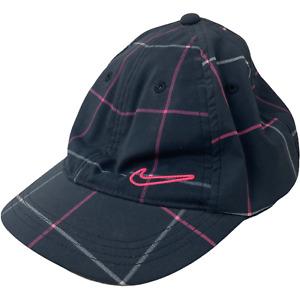 Nike Women's Dri-Fit  Pink Plaid Black Golf Adjustable Strap Hat Golfing