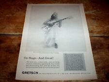 GRETSCH GUITAR white falcon ( MARY OSBORNE ) Vintage 1959 magazine PROMO Ad NM-