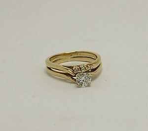 Beautiful Estate Diamond Engagement Ring and Wedding Band Set, Size 6.25