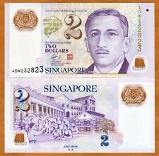 Singapore, 2 Dollars, ND (2011), Polymer, P-46-New, UNC >  two triangles