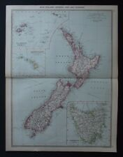 Antique Map: New Zealand & Tasmania by George Philip, c 1908, Colour