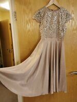 Asos Size 8 Lace Top Bridesmaid Midi Formal Dress Nude Dusky Pink silver party