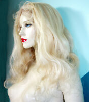 REAL Human Hair Remi Remy Full Lace Wig Wigs Indian Light Blonde Long Body Wave