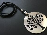 BLACK Long Suede necklace with a Large statement TREE OF LIFE pendant LAGENLOOK