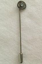 Antique White Stone Circle Geometric Stick Pin Tie Vintage Old Men's Accessory