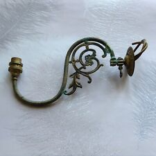 VINTAGE ANTIQUE VICTORIAN ORNATE BRASS 1 ARM WALL LIGHT SCONCE WITH VERDIGRIS