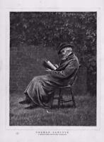 1876 - Antique Print FINE ART Thomas Carlyle Allingham Man Chair Book    (121)