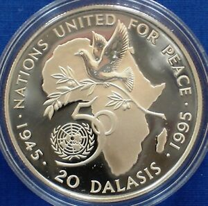 Gambia 20 dalasis Silver Proof 1995 United Nations 50th Anniversary