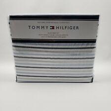 Tommy Hilfiger Queen Sheet Set Blue Gray Navy White Stripe 4 Piece Set
