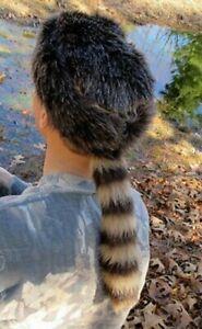 Davey Crockett Coonskin Cap Fake Tail Raccoon Coon Daniel Boone Hat Realistic