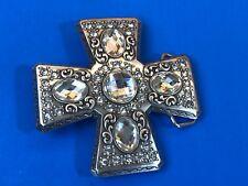 Vintage?  Clear Multi Rhinestone 4 side Silver tone Iron Cross belt buckle
