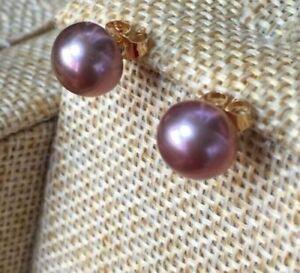 Gorgeous AAA 8-9 mm natural south sea purple pearl earrings