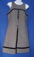 Laundry Shelli Segal Dress New Tweed Faux Leather Trim Size 8
