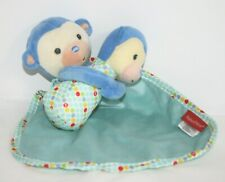 Fisher Price Blue Monkey Security Blanket Lovey w/Rattle