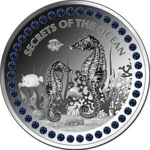 1 Unze Silber Ghana SECRETS OF THE OCEAN Seepferdchen Feingehalt 999 5 Cedis 202