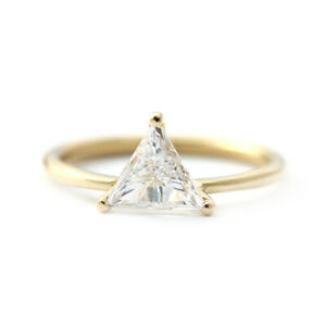 1Ct Trillion Cut Diamond Engagement Womens Ring in 14k Yellow Gold Finish