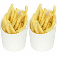 2 x Round Porcelain Side Portion Chip French Fry Food Serving Cups Bowls Dishes