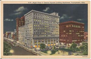 Night View of Central Square Looking Northwest in Youngstown OH Postcard