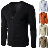Men Winter V Neck Button Knitted Cardigan Sweater Tops Long Sleeve Jacket Coat
