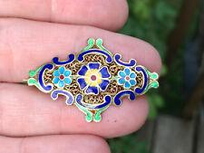 Vintage European 850 Silver Very fine filigree enamel flower pin Cloisonne