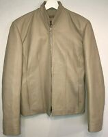 SKIN Real Leather Womens Jacket Size 14 Beige
