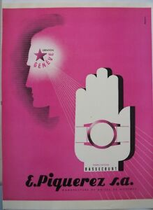 vintage 1954 color print ad E PIQUEREZ SA Swiss watch ebauche MID CENTURY ART