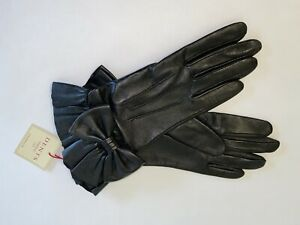 Genuine Dents leather gloves - Silk lined with bow