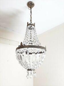 Chandelier Crystal Vintage Lam Brass Light Ceiling Crystals Lighting Tent Beaded