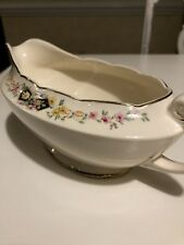 Vintage Crooksville China Wildflower Ringed with Gold Trim Gravy Boat Antique