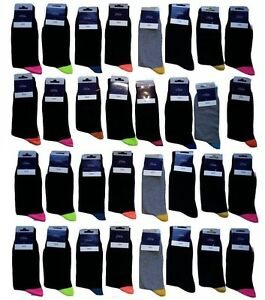 100 PAIRS MEN'S ADULTS BLACK COTTON SOCKS WITH MIX COLOURED UK SIZE 6-11  HGBJK