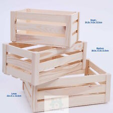 WOODEN BOX STORAGE CRATE PLAIN WOOD DECOUPAGE CRATES SET OF 3 SN100K