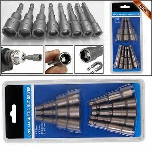 "8Pcs 1/4"" HEX Magnetic Nut Driver Socket Metric Impact Drill Bit 6mm to 13mm Set"