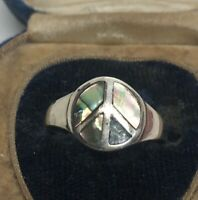 Vintage Sterling Silver Ring 925 Size 9 Peace Sign Abalone Shell