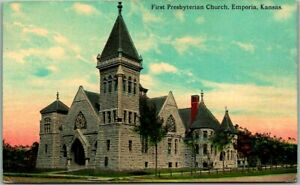 "Emporia, Kansas Postcard ""First Presbyterian Church"" Building View 1921 Cancel"