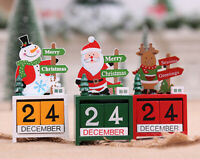 Christmas Wooden Advent Block Countdown Calendar Days Xmas Table Décor Ornament