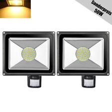 2X 50W Warmweiß LED Fluter mit Bewegungsmelder Außen Strahler Flutlicht IP65