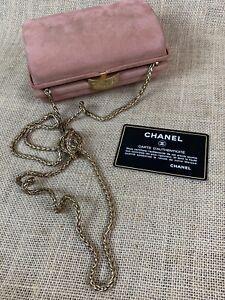 Vintage Pink Iridescent Gold CHANEL Hard Case Evening Bag w/ Certification Card