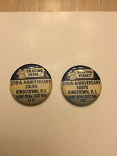 Two 1973 Kingstown Rhode Island Shaving Permint Anniversary Buttons Pins