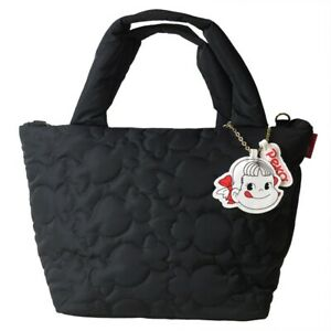 Pekochan×ROOTOTE DELI Quilt Tote Bag Milky shaped stitching with a charm black