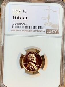 1952 Lincoln Cent NGC PF 67 Red * Price Guide $125 *