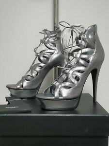 YVES SAINT LAURENT Metallic Lace Up Platform Sandals